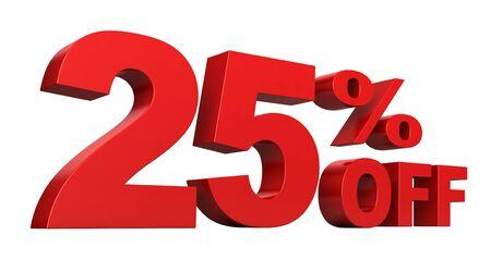 3d geef van 25 percenten van verkooptekst terug die over witte achtergrond wordt geïsoleerd Stockfoto