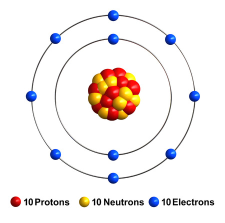 3d render of atom structure of neon isolated over white background Protons are represented as red spheres, neutron as yellow spheres, electrons as blue spheres