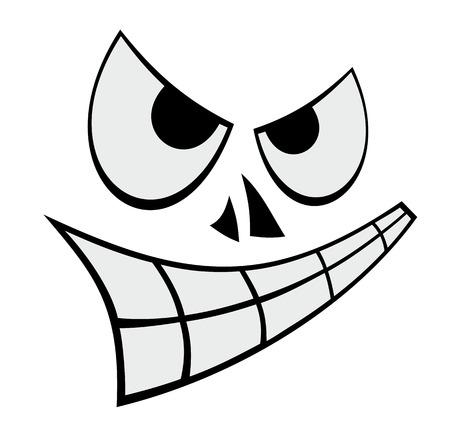 Cartoon vector illustration of humorous sly face Illustration