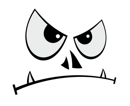 Cartoon vector illustration of humorous evil face