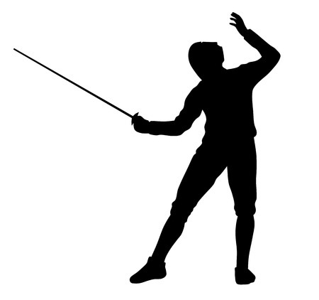 Vector illustration of fencer silhouette