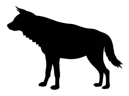 Vector illustration of hyena side view silhouette