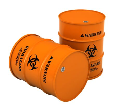 toxic substance: 3d render of barrels with biohazard substance isolated over white background