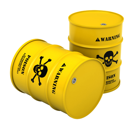 3d render of barrels with poisonous substance isolated over white background Stock Photo