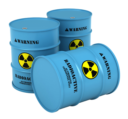 3d render of barrels with radioactive substance isolated over white background