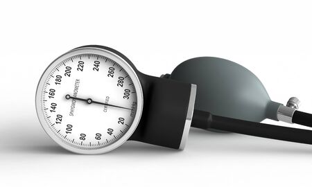 3d render of blood pressure measuring device over white background Stock Photo