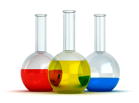 toxic substance: 3d render of glass flasks with liquid substances