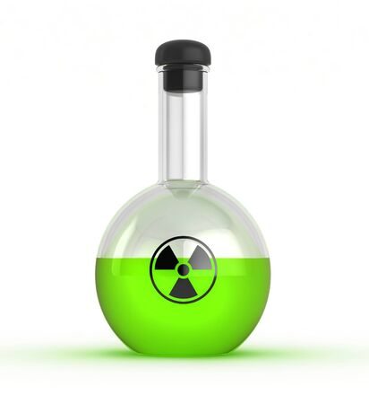 3d render of glass flask with radioactive liquid