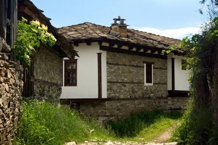 fasade: Old stone Bulgarian houses in the village of Dolen