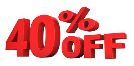 흰색 배경 위에 절연 판매 텍스트에서 40 %의 3d 렌더링 스톡 콘텐츠
