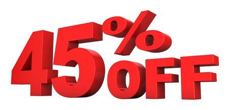 흰색 배경 위에 절연 판매 텍스트의 45 %의 3d 렌더링