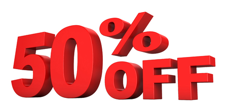 3d render of 50 percent off sale text isolated over white background Reklamní fotografie - 85108259