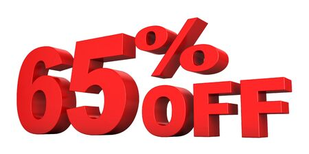 3d render of 65 percent off sale text isolated over white background Stock Photo