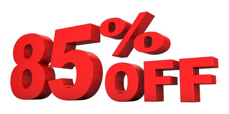 3d render of 85 percent off sale text isolated over white background Stock Photo