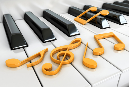 3d render of piano keys and notes Stock Photo
