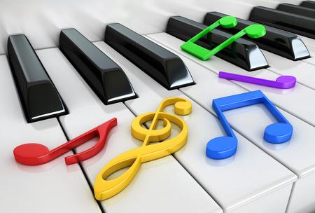 3d render of piano keys and notes Reklamní fotografie