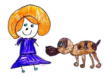 Disegno originale del bambino con marcatori di colore su carta bianca Archivio Fotografico - 85108220