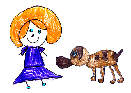 Original child's drawing with color markers on white paper Standard-Bild