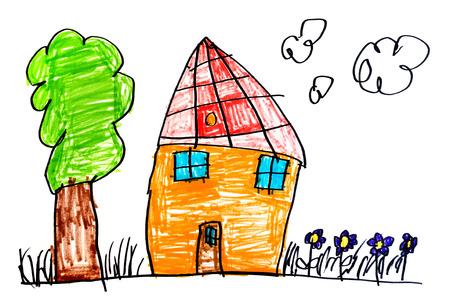 Original Kinderzeichnung mit Farbmarkierungen auf weißem Papier