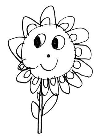 Zeichnung des ursprünglichen Kindes der Blume mit schwarzer Markierung auf Weißbuch