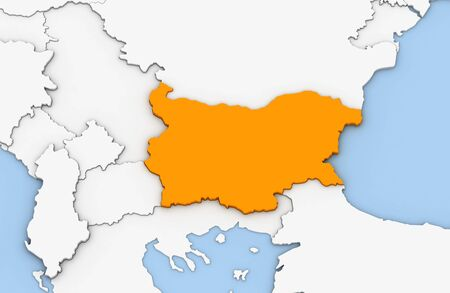 3d render of abstract map of Bulgaria highlighted in orange color Stock Photo