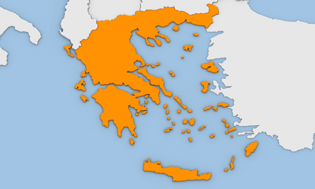 3d render of abstract map of Greece highlighted in orange color Stock Photo