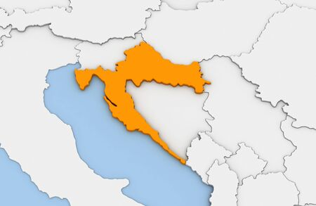 3d render of abstract map of Croatia highlighted in orange color Imagens