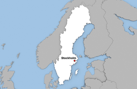 Abstract 3d render of map of Sweden highlighted in white color and location of the capital Stockholm marked with red pin