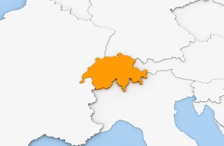 3d render of abstract map of Swiss highlighted in orange color