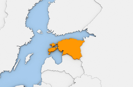3d render of abstract map of Estonia highlighted in orange color Stock Photo