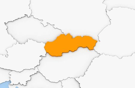 3d render of abstract map of Slovakia highlighted in orange color Stock Photo