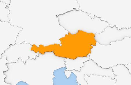 オレンジ色で強調表示されているオーストリアの抽象的なマップの 3 d レンダリング 写真素材