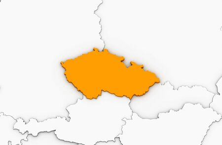 3d render of abstract map of Czech highlighted in orange color