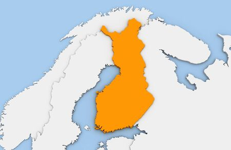 3d render of abstract map of Finland highlighted in orange color