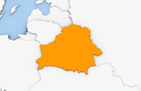 3d render of abstract map of Belarus highlighted in orange color Stock Photo