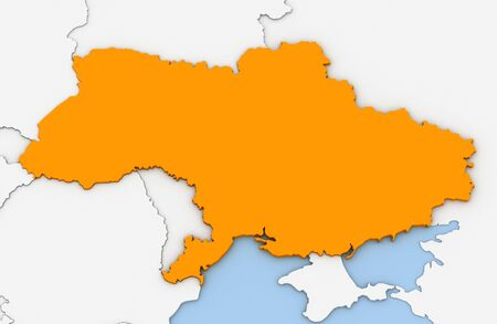 3d render of abstract map of Ukraine highlighted in orange color