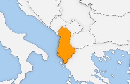3d render of abstract map of Albania highlighted in orange color Stock Photo