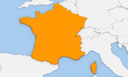 3d render of abstract map of France highlighted in orange color Stock Photo