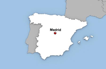 Madrid Capital De España Mapa.Resumen 3d Render Del Mapa De Espana Resaltado En Color Blanco Y La Ubicacion De La Capital Madrid Marcado Con El Pin Rojo