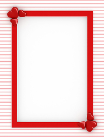 3d render of red frame with hearts for valentines day card with white space for text