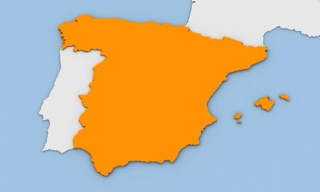3d render of abstract map of Spain highlighted in orange color Stock Photo