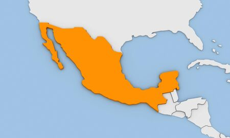 3d render of abstract map of Mexico highlighted in orange color Stock Photo