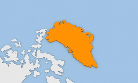3d render of abstract map of Greenland highlighted in orange color