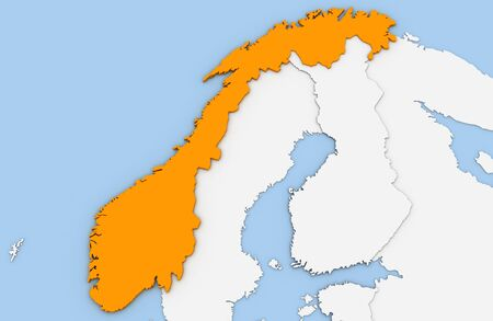 3d render of abstract map of Norway highlighted in orange color