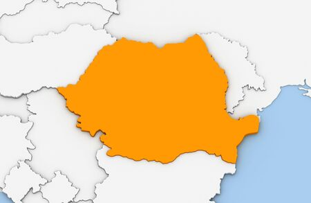 3d render of abstract map of Romania highlighted in orange color