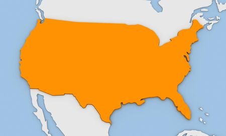3d render of abstract map of United States of America highlighted in orange color