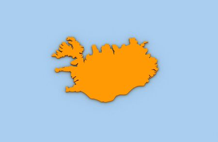 3d render of abstract map of Iceland highlighted in orange color