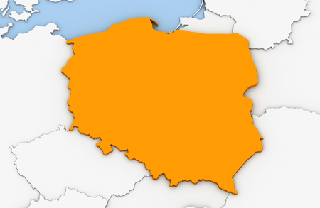 3d render of abstract map of Poland highlighted in orange color Stock Photo