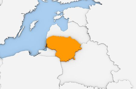 3d render of abstract map of Lithuania highlighted in orange color