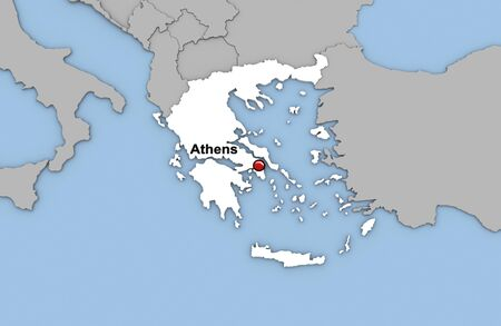 Abstract 3d render of map of Greece highlighted in white color and location of the capital Athens marked with red pin